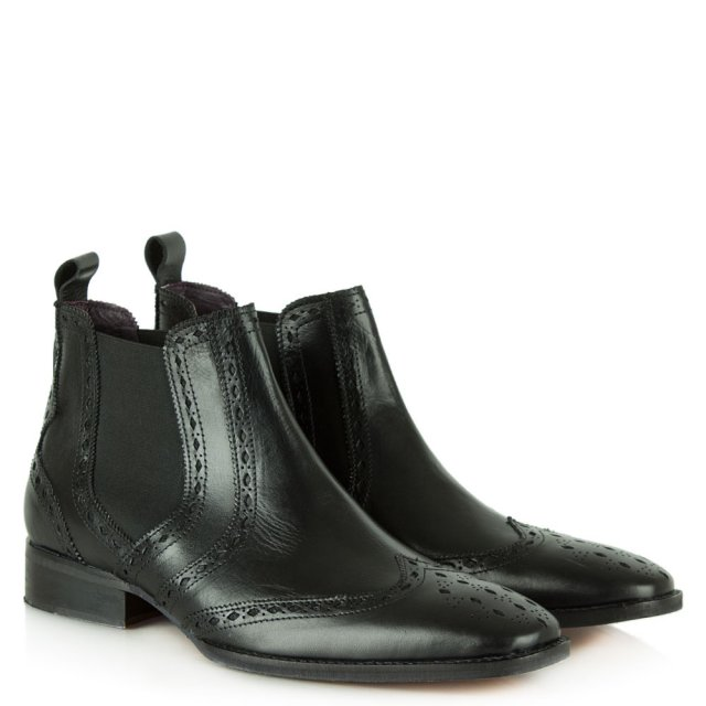Gucinari Black Leather Brogue Chelsea Boot