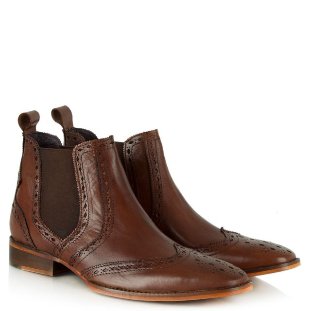 Gucinari Tan Leather Brogue Chelsea Boot