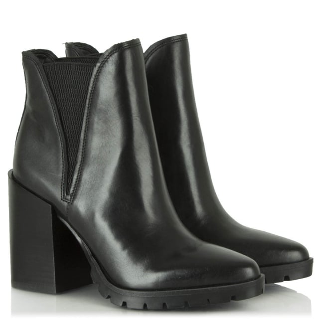 Sam Edelman Kammie Black Leather Tacked Sole Chelsea Boot