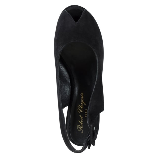 Robert Clergerie Dylank Black Suede Wedge Slingback