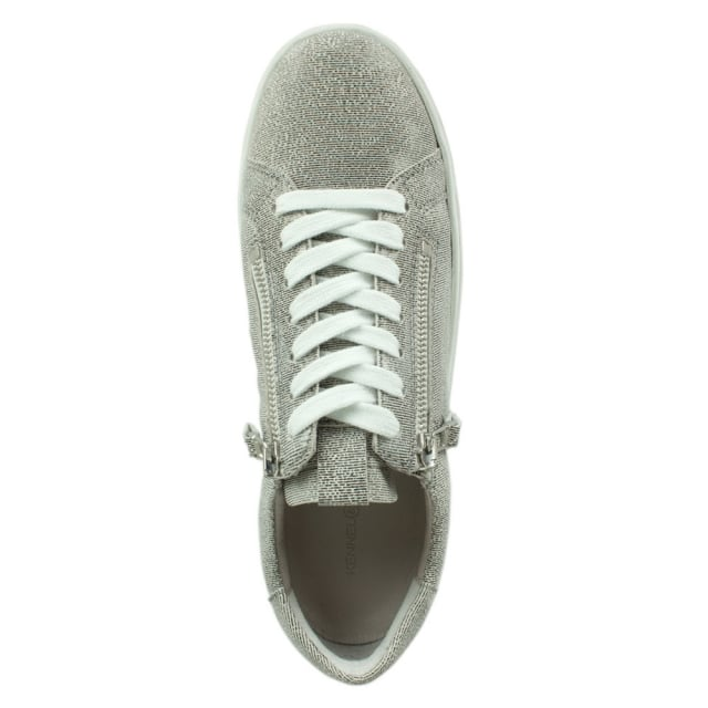 Kennel & Schmenger Towner Silver Metallic Leather Lace Up Trainer
