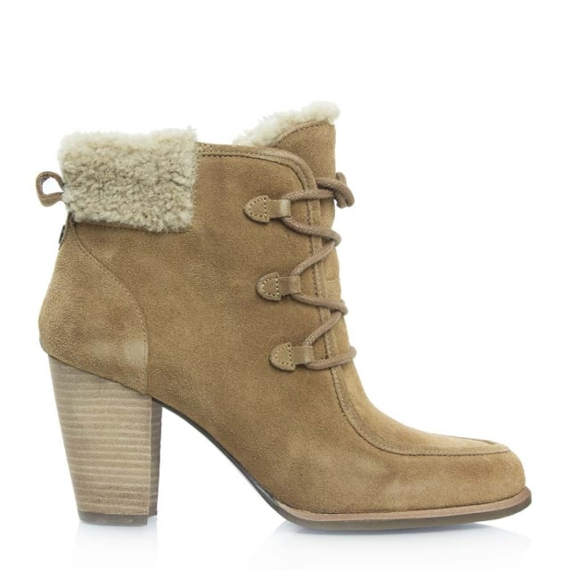 UGG Analise Chestnut Suede Lace Up Hiker Ankle Boot