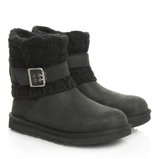 UGG Cassidee Black Suede Cotton Cable Knit Collar Ankle Boot
