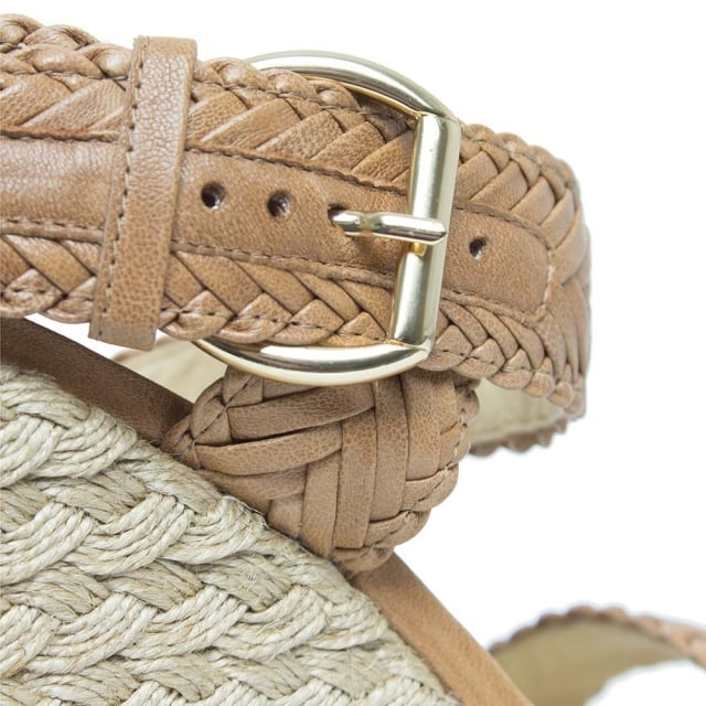 Stuart Weitzman Elixir Tan Leather Woven Strap Espadrille Wedge