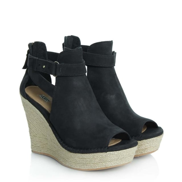 UGG Jolina Black Leather Peep Toe Wedge Sandal