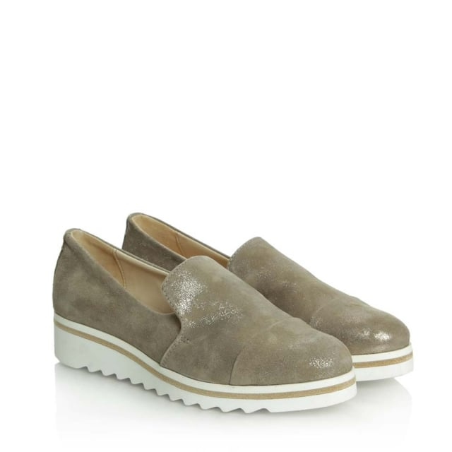 Daniel Georgetown Taupe Leather Low Wedge Loafer