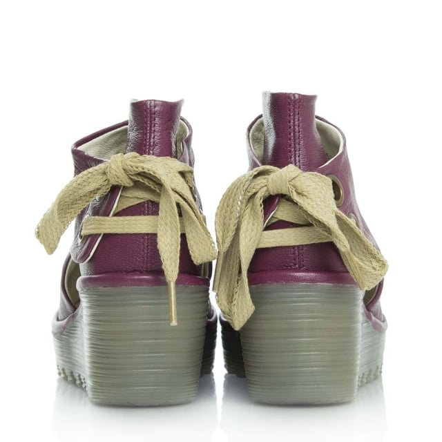 Fly London Yema Mousse Magenta Lace Up Wedge Sandal