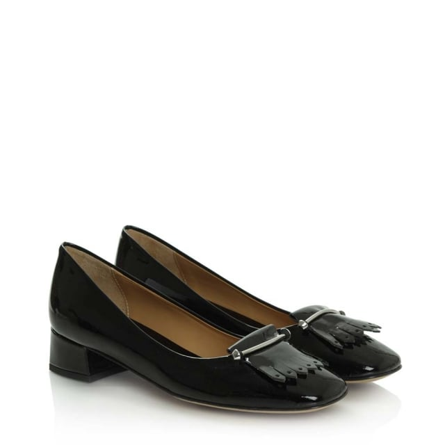 Daniel Thousand Palms Black Patent Leather Fringed Pump