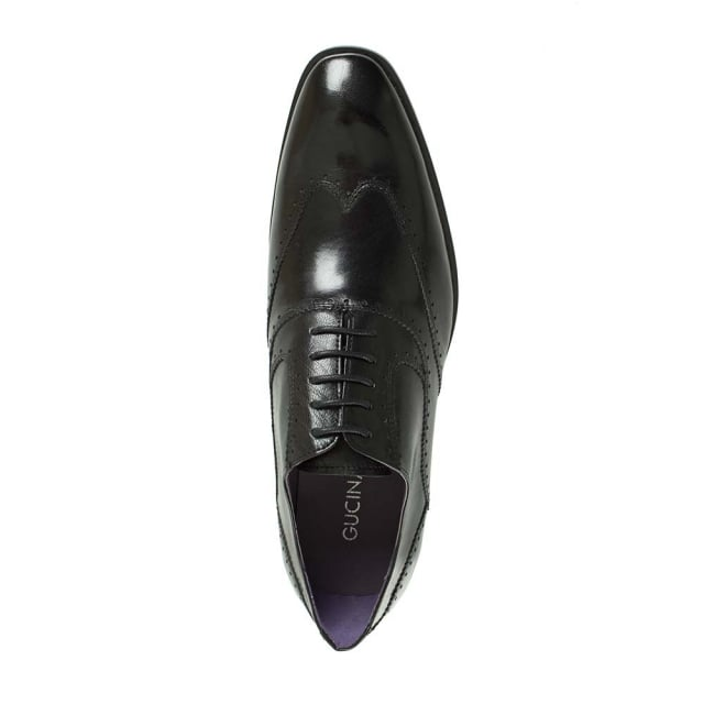 Gucinari Black Leather Lace Up Hole Punch Shoe