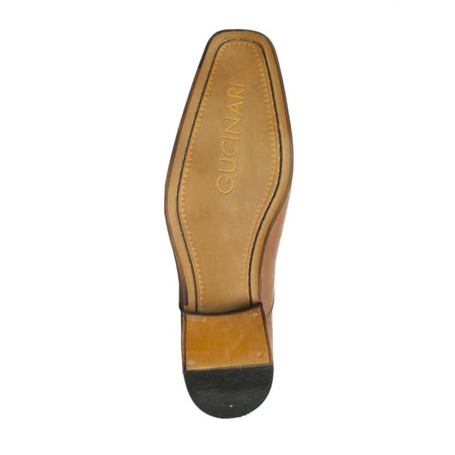 Gucinari Tan Leather Square Toe Loafer