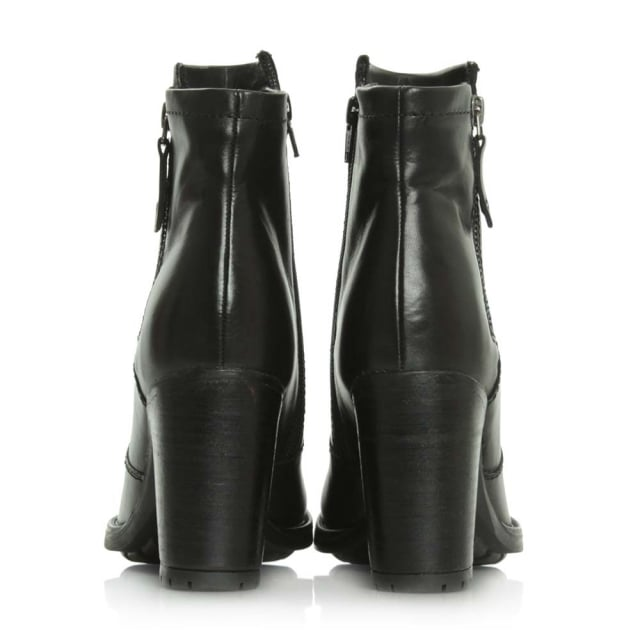 Manas 17 Black Leather Zipper Ankle Boot