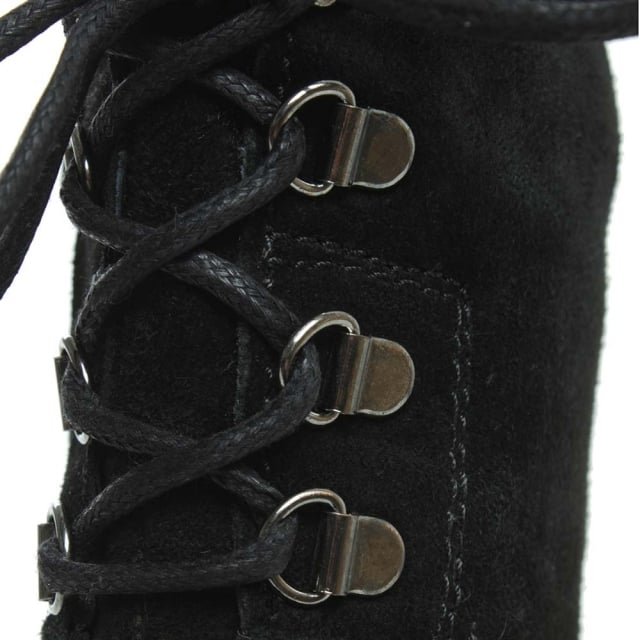 Manas 15 Black Suede Tie Back Chunky Ankle Boot