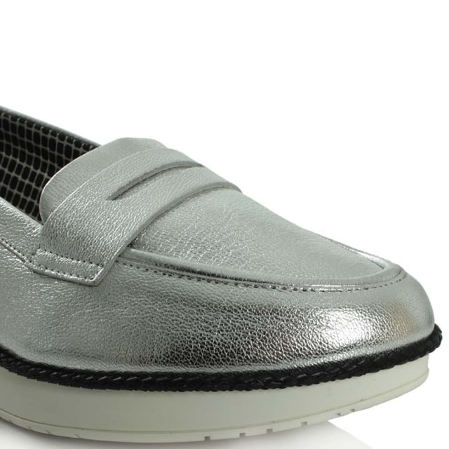 Robert Clergerie Avalerie Sliver Leather Wedge Loafer