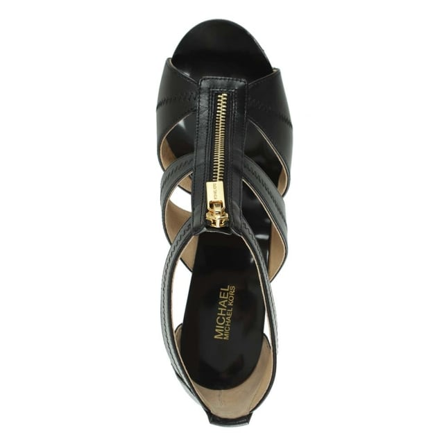 Michael Kors Berkley T Strap Black Leather Heeled Sandal