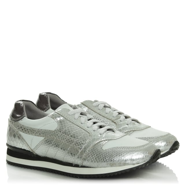 DF By Daniel Wiggington Silver Metallic Leather Lace Up Trainer
