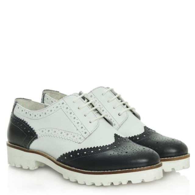 DF By Daniel Haxby Navy Leather White Sole Brogue