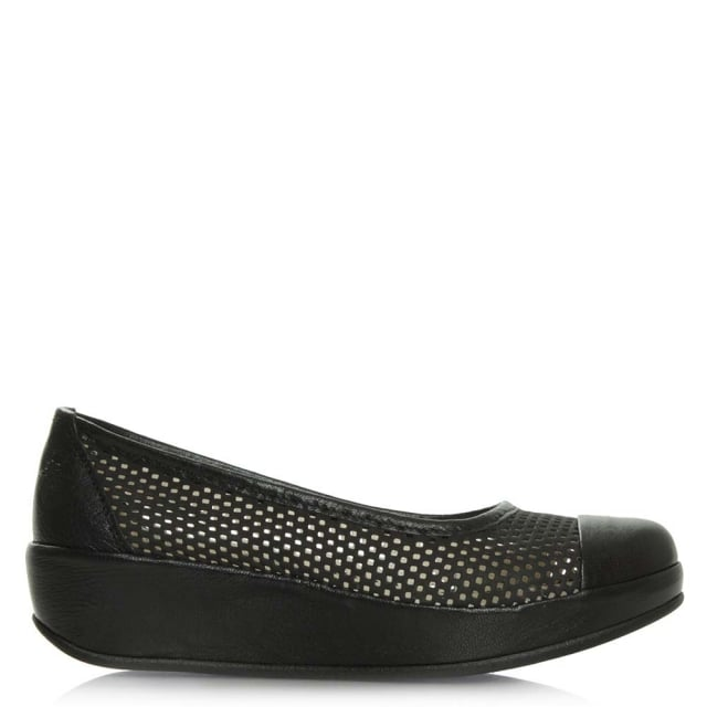 Fly London Bang Black Leather Low Wedge Pump