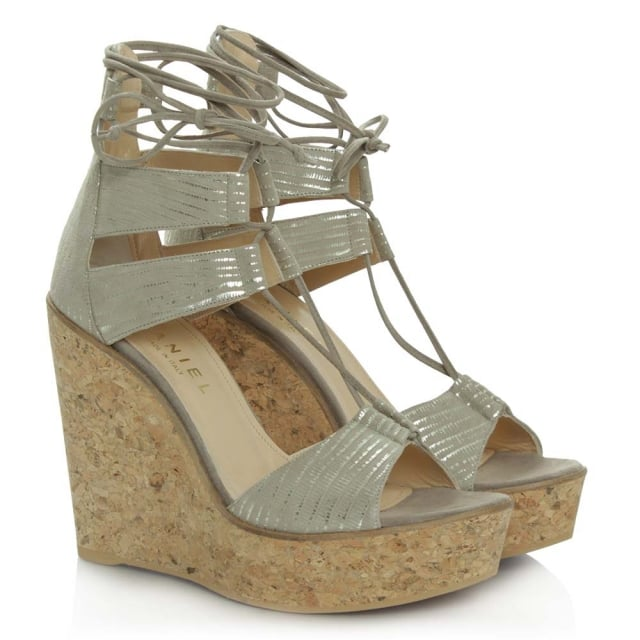 Daniel New England Beige Leather Strappy Wedge Sandal