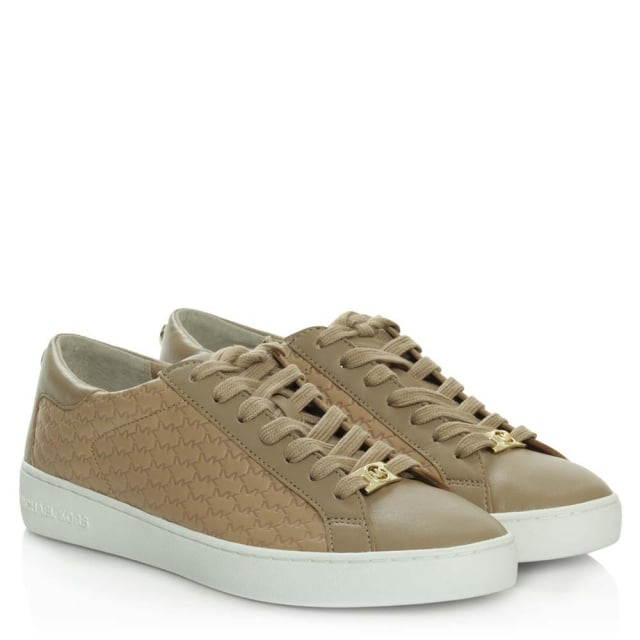 Michael Kors Colby Dark Khaki Leather Embossed Lace Up Trainer