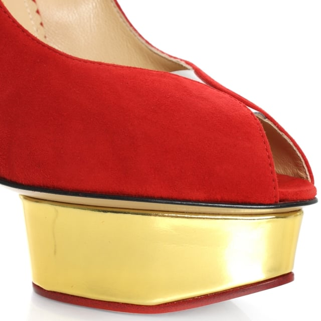 Charlotte Olympia Daphne Red Suede Peep Toe Platform Court