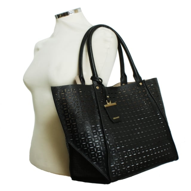 DKNY Rachel Black Leather Laser Cut Shopper