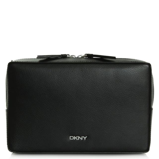 DKNY Lizzie Black Leather Rectangle Top Zip Clutch