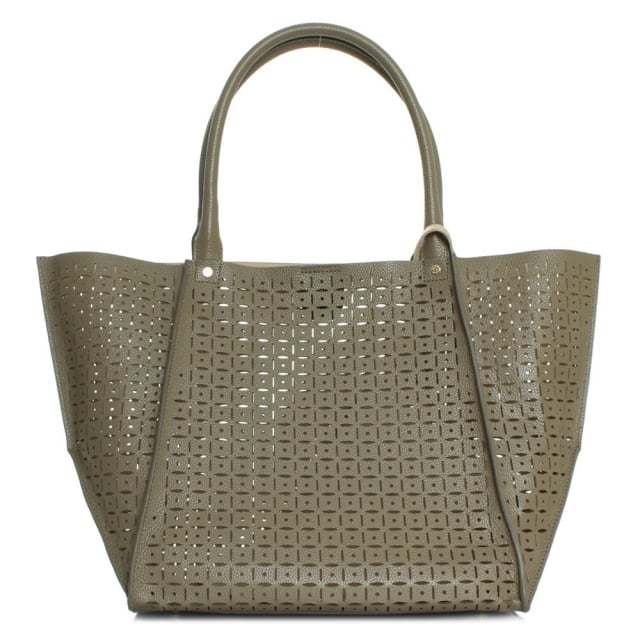 DKNY Rachel Khaki Leather Laser Cut Shopper