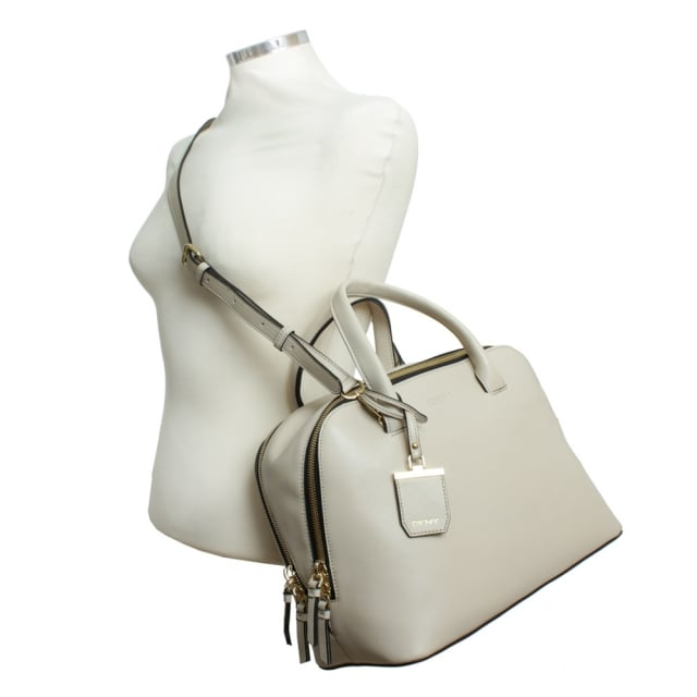 DKNY City Zip Large Beige Leather Duffel Bag