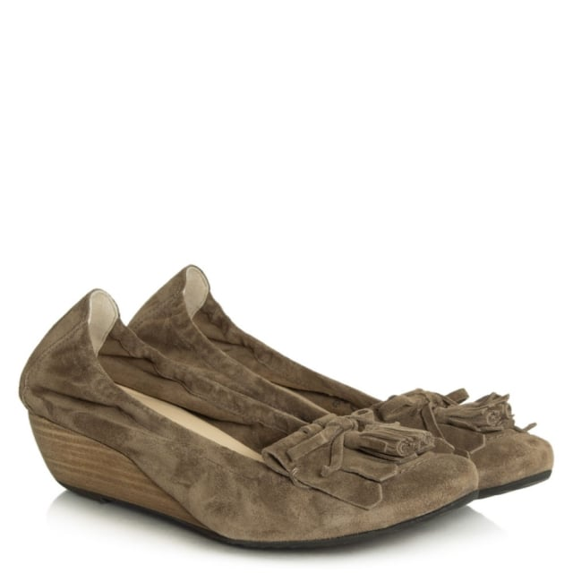 Kennel & Schmenger Flower Taupe Suede Low Wedge Shoe