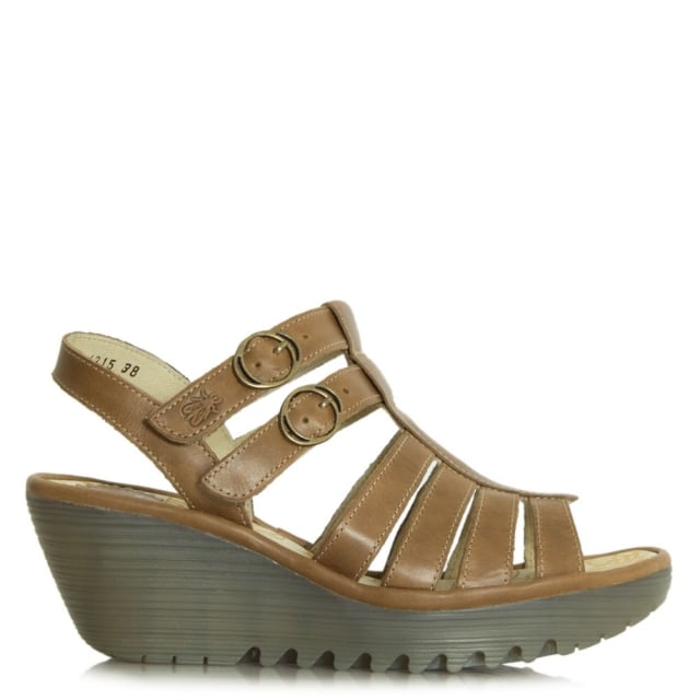 Fly London Ygor Camel Leather Wedge Gladiator Sandal