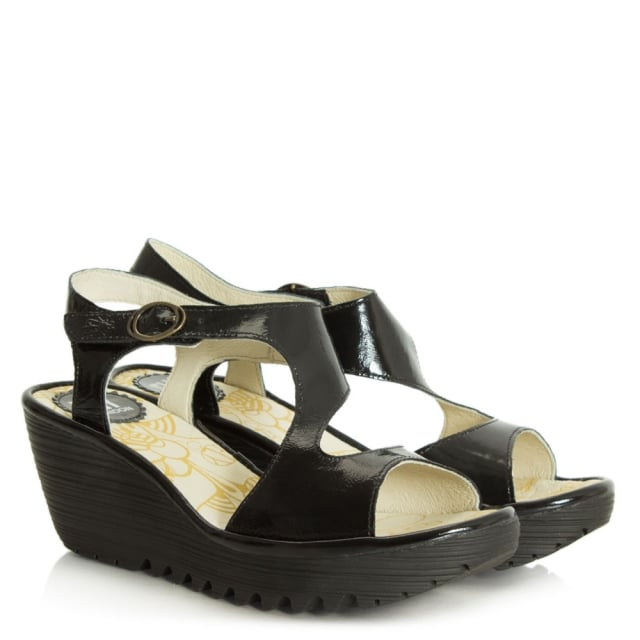 Fly London Yanca Patent Black Leather Wedge Sandal