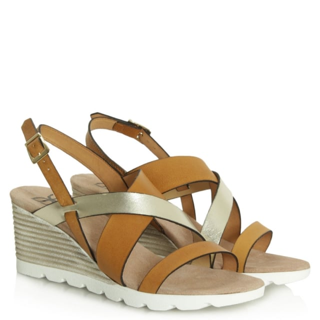 DF By Daniel Aycliffe Tan Mid Wedge Sandal