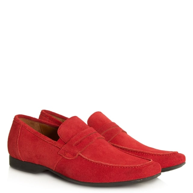 Roman Rock Rocky 100 Red Suede Saddle Loafer
