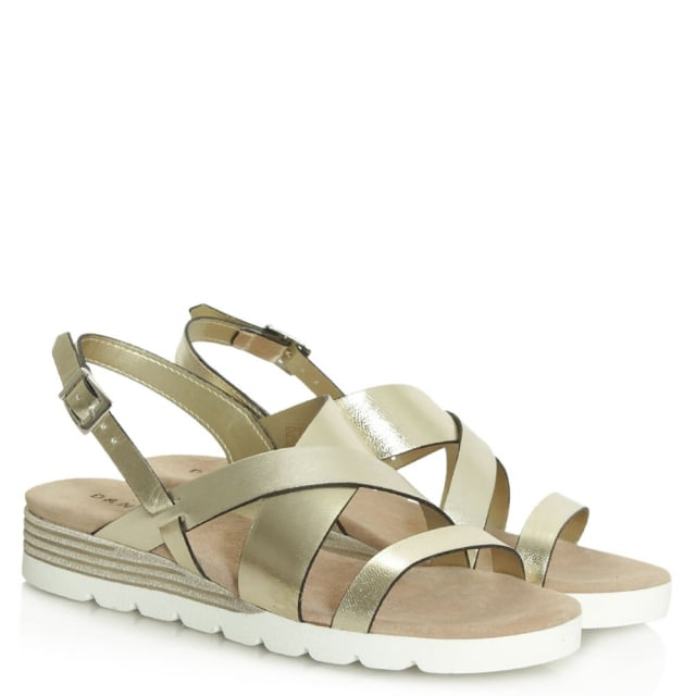Daniel Bloomfield Gold Leather Contrast Low Wedge Sandal
