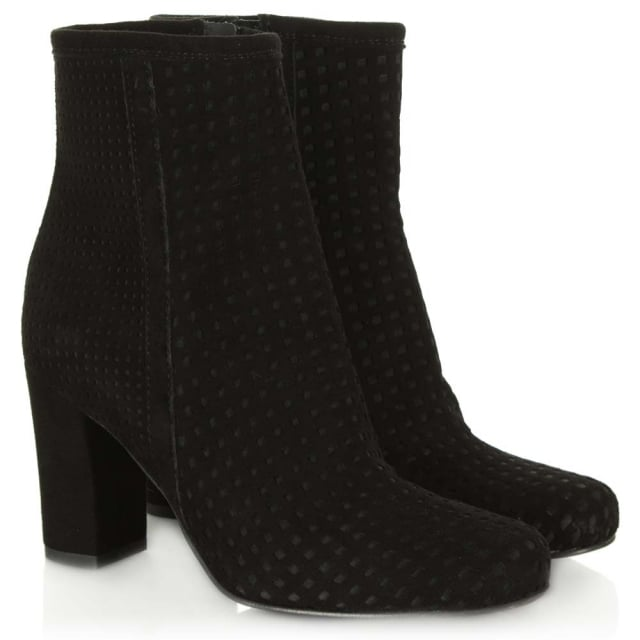 Daniel Rosemead Black Suede Perforated Block Heel Ankle Boot