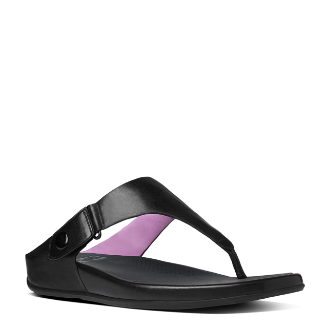 FitFlop Gladdie Toe Post Black Leather Flip Flop