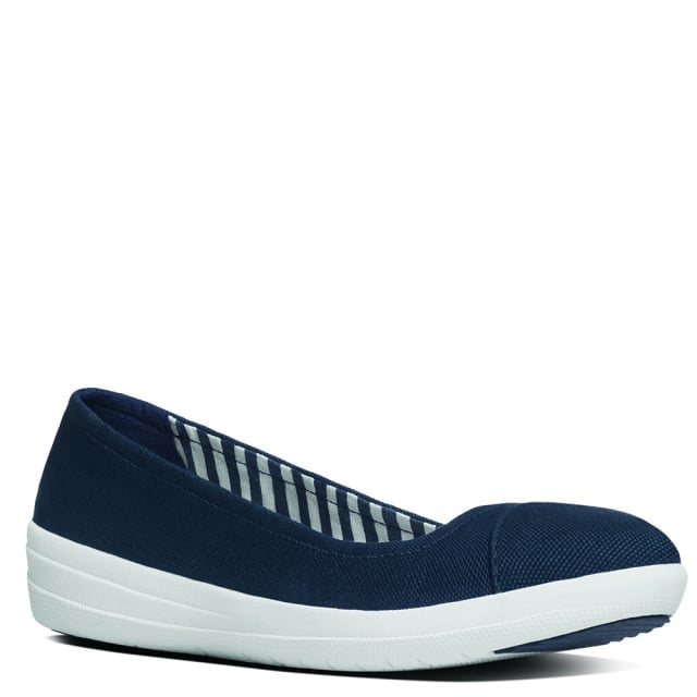 FitFlop F Sporty Navy Canvas Ballerina