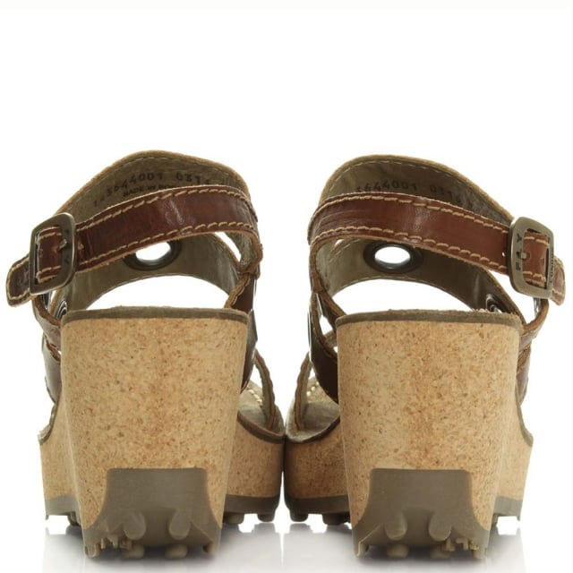 Fly London Guse Tan Leather High Cork Wedge