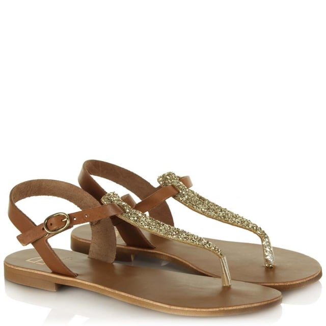 DF By Daniel Hessay Tan Leather Glitter T Bar Toe Post Sandal