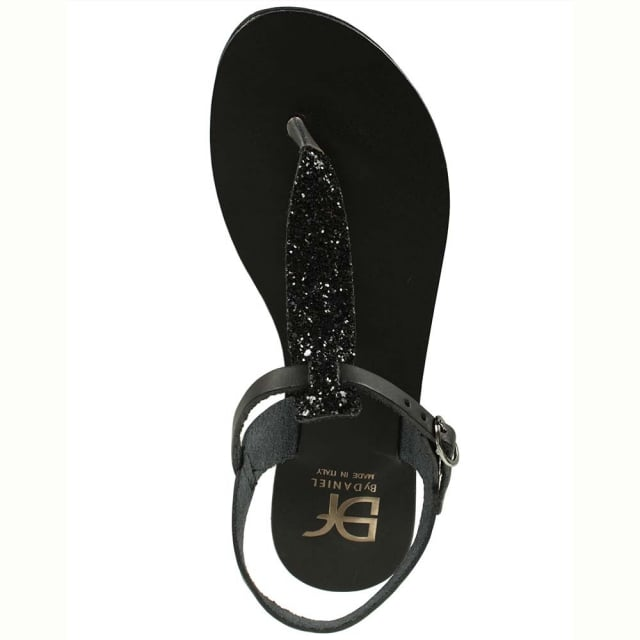 DF By Daniel Hessay Black Leather Glitter T Bar Toe Post Sandal