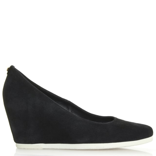Hogl Wedge Navy Suede Court Shoe
