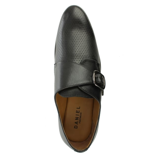 Daniel Austell Black Leather Perforated Monk Shoe