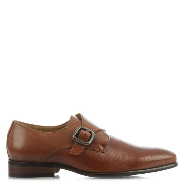 Daniel Austell Tan Leather Perforated Monk Shoe