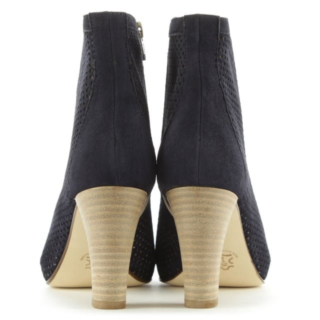 Calpierre Temir Perforated Navy Suede Peep Toe Ankle Boot