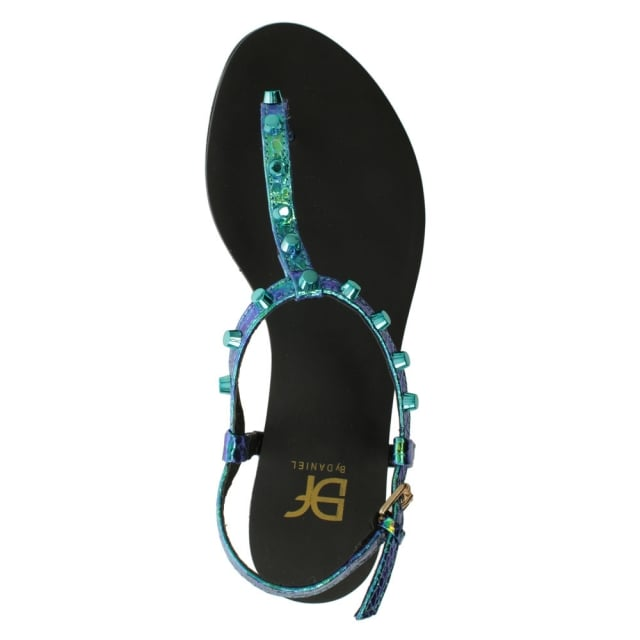 DF By Daniel Foxhil Multicoloured Studded T Bar Toe Post Sandal