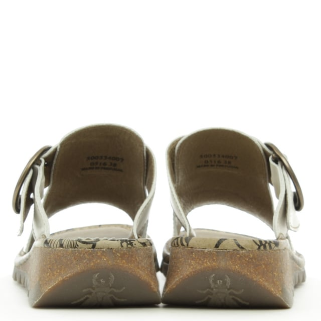 Fly London White Leather Tute Sandal