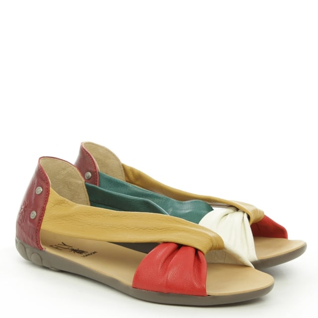 Fly London Faya Multicoloured Leather Twist Front Peep Pump
