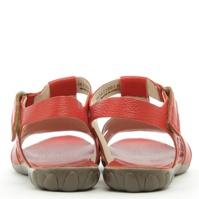 Fly London Fely Red Leather High Fronted Sandal