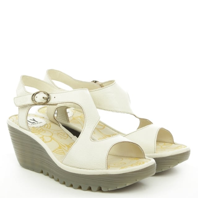 Fly London Yanca White Leather Wedge Sandal