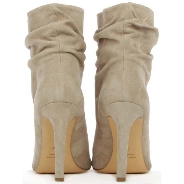 Daniel Bloomington Taupe Suede Rouched Peep Toe Ankle Boot